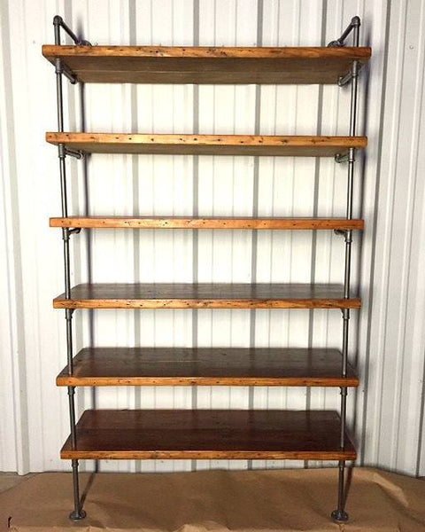 Industrial Pipe Shelving with Antique Reclaimed Wood Industrial