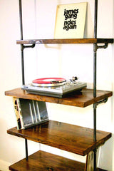 Vinyl record storage shelf with turntable stand