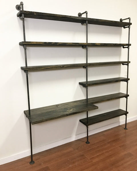 Shelving - Pipe Shelving Unit With Desk