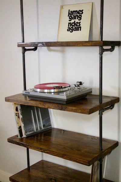 shelving vinyl record storage shelf with turntable stand