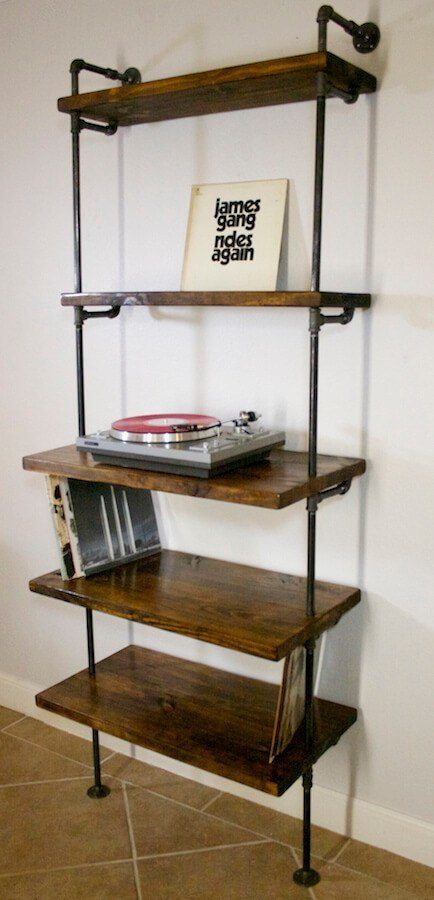 ... Shelving - Vinyl Record Storage Shelf With Turntable Stand ... & Vinyl record storage shelf with turntable stand | Industrial Envy LLC