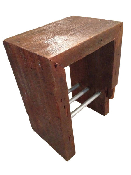 Side Table   Rustic Industrial Side Table With Antique Reclaimed Wood