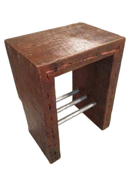Side Table - Rustic Industrial Side Table With Antique Reclaimed Wood