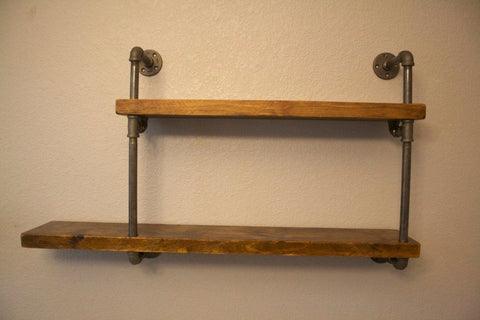 Wall Shelves - Industrial Pipe Display Shelf