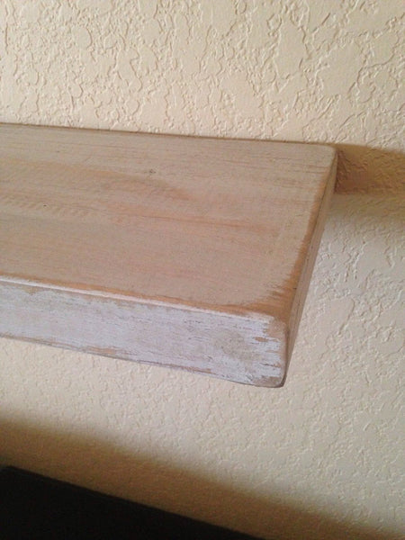Wall Shelves - Long Distressed Floating Wall Shelf With Brackets