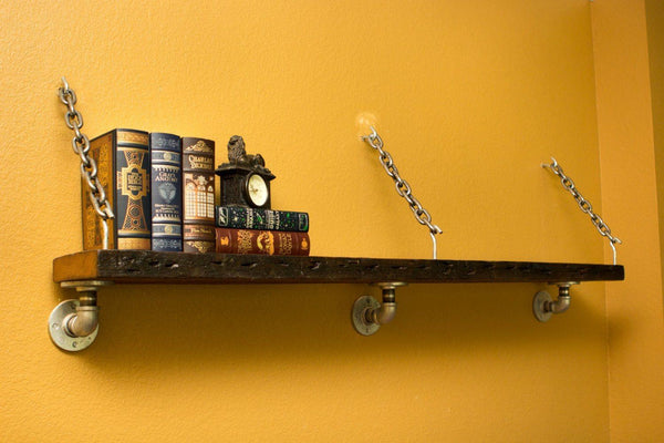 Wall Shelves - Old Reclaimed Wood Shelf With Pipe And Chain