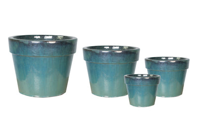 turquoise-cone-shaped-glazed-terracotta-pot-with-wide-rim