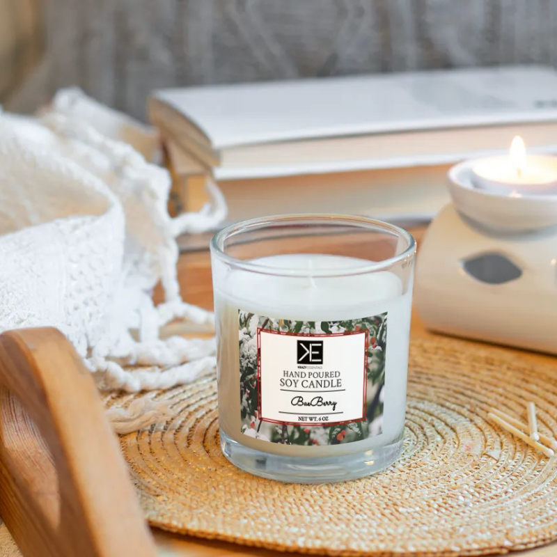 BaeBerry Soy Candle: smells just like Christmas; blend of cranberry, clove, cinnamon and amber