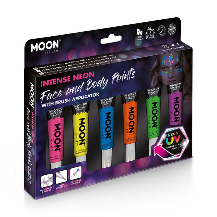 Intense Neon Face & Body Paints with Brush Applicator
