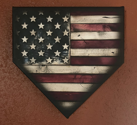 "12"" Canvas American Flag Home Plate"