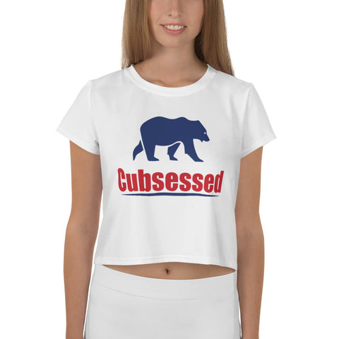 Cubsessed All-Over Print Crop Tee