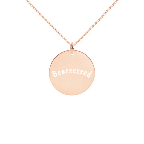 Bearsessed Engraved Silver Disc Necklace