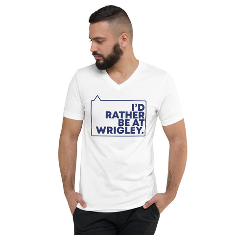 I'd rather be at Wrigley Short Sleeve V-Neck T-Shirt