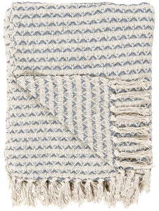 Cream and Blue Pattern Throw