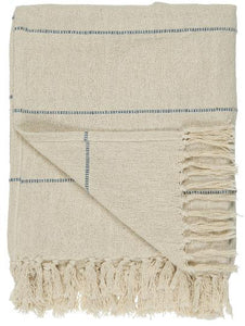 Cream and Blue Striped Throw