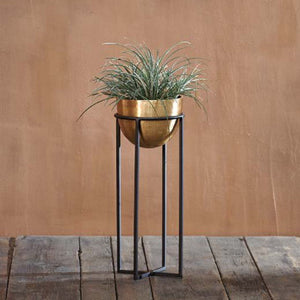 Atsu Brass Planter on Stand