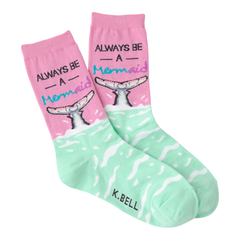 K Bell - Women's Always Be A Mermaid Crew Socks