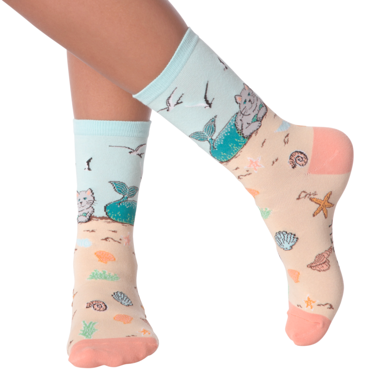 K Bell - Women's Mermaid Cat Crew Socks