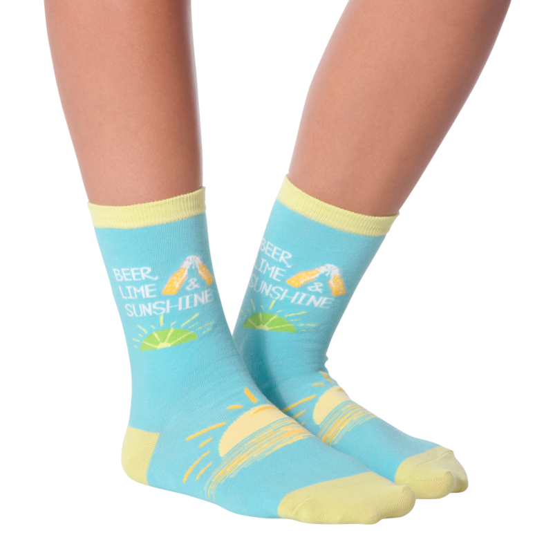 K Bell - Women's Beer, Lime & Sunshine Crew Socks
