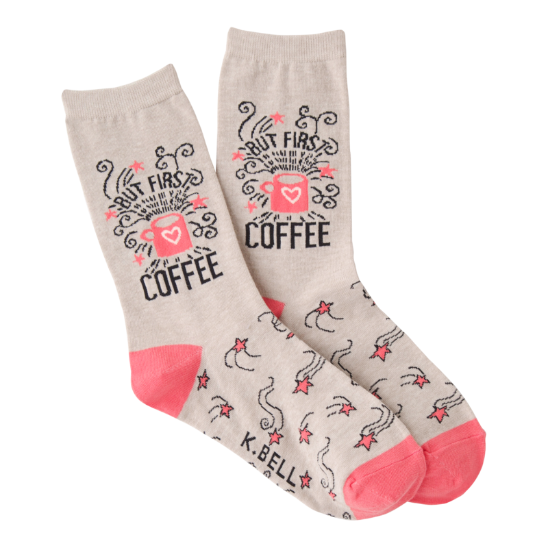 K Bell - Women's But First Coffee Crew Socks