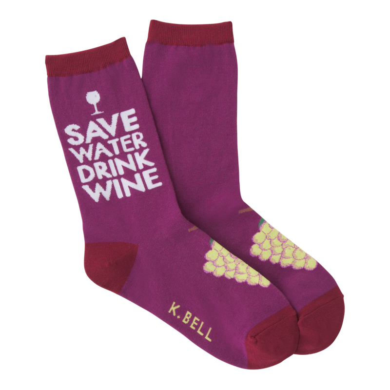K Bell - Women's Drink Wine Crew Socks