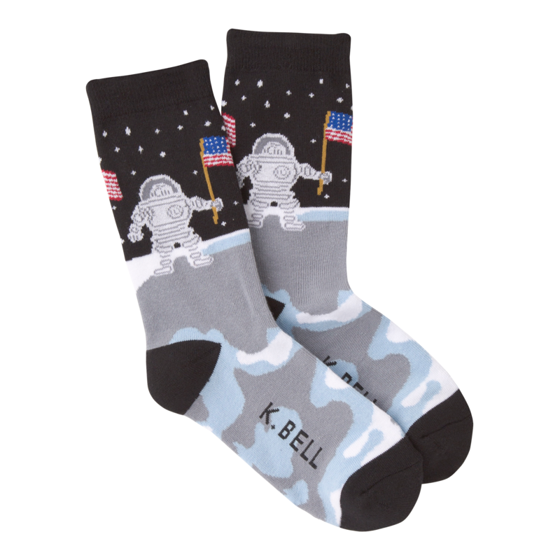 K Bell - Women's Man On The Moon Crew Socks - American Made