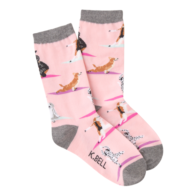 K Bell - Women's Yoga Dogs Crew Socks