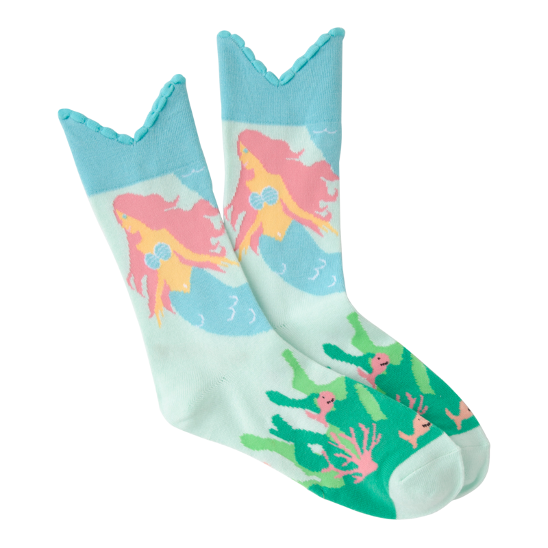 K Bell - Women's Wide Mouth Mermaid Tail Crew Socks
