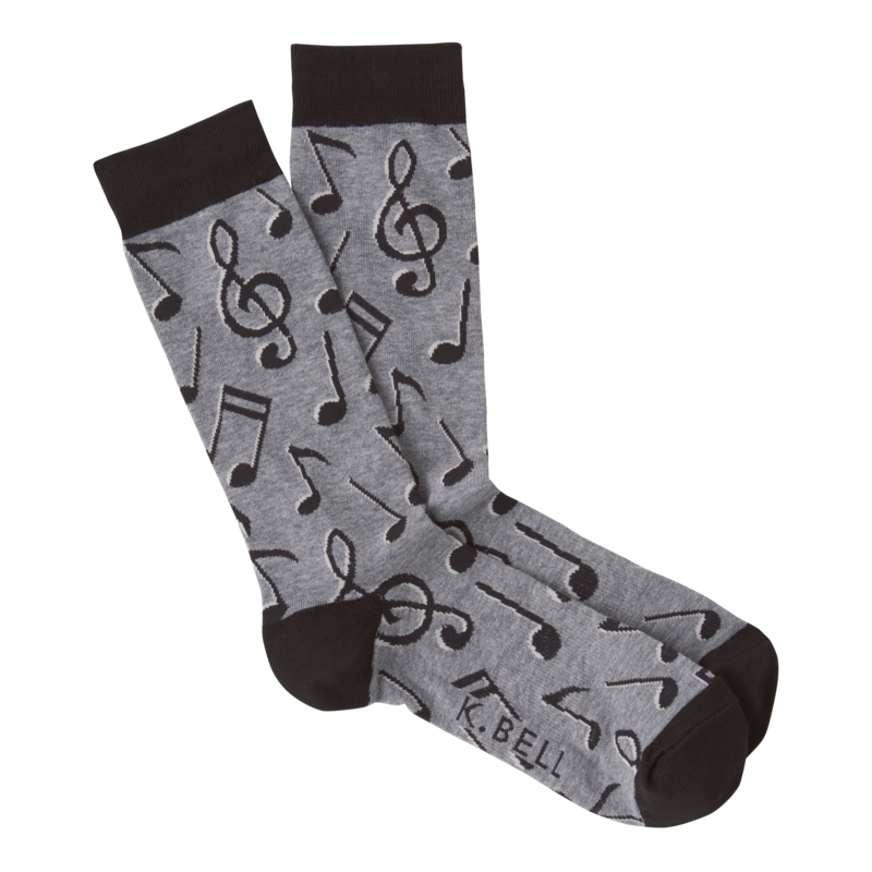 K Bell - Men's Music Notes Crew Socks