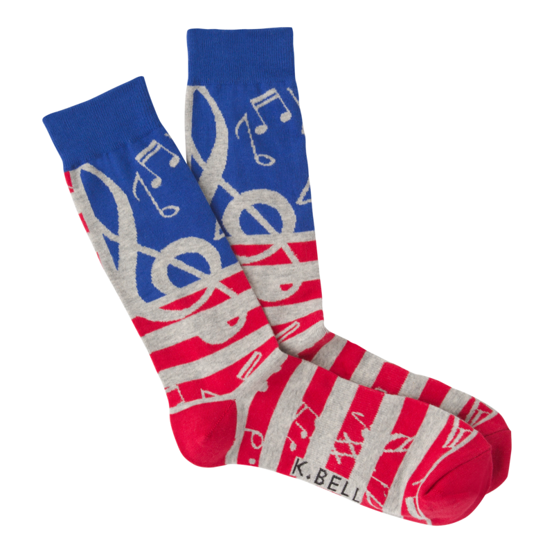K Bell - Men's USA Music Crew Socks