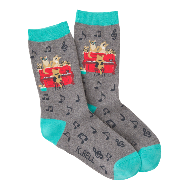 K Bell - Women's Piano Cat Crew Socks