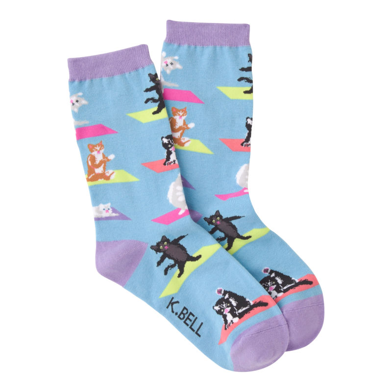 K Bell - Women's Yoga Cat Crew Socks