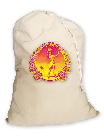 Aloha Hula Girl Laundry Bag. Made From Eco Canvas. Made in the USA