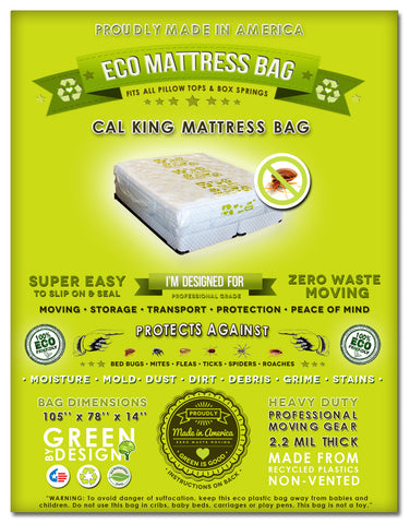 Cal King and King Size Mattress Protection Bag.  Fits all Pillow Tops and Box Springs. Ideal for Moving, Storage and Transport!