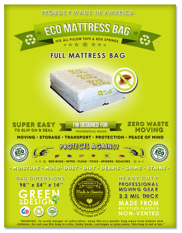 2 Full Mattress Bag Protection Covers . Ideal for Packing, Moving, Storage and Transportation. Proudly Made In America!