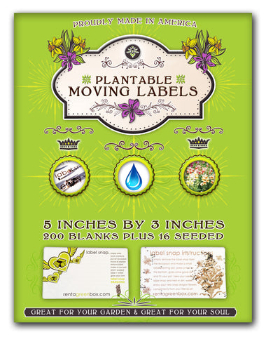 200 Extra Large Eco Moving Labels. Grow Flowers When You're Done Moving! Just Plant in Soil!