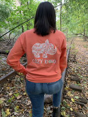 Bright Salmon Floral Long Sleeve Tee - Cozy Rhino