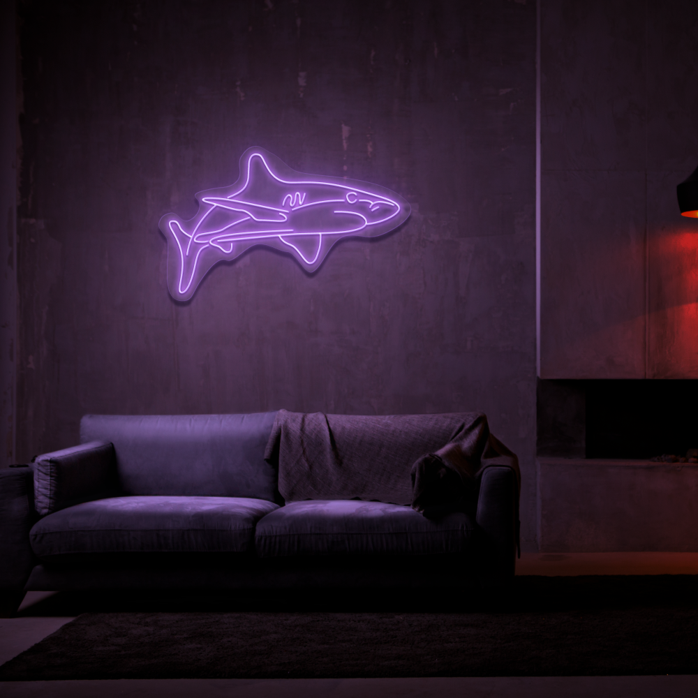 White Tip Shark - Neon Sign