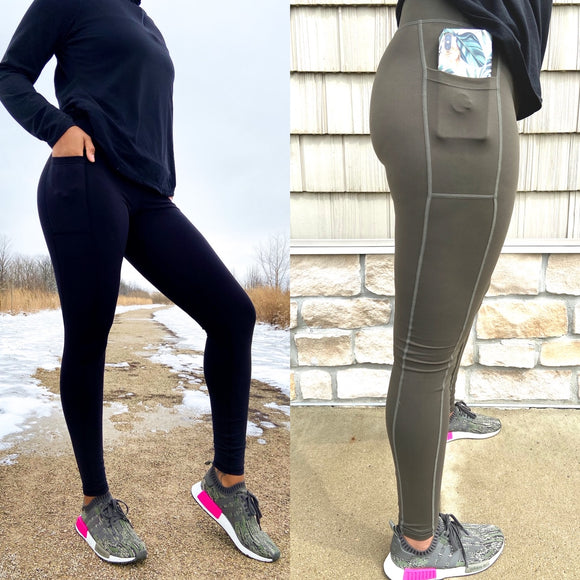 Women's Legging Bundle W/Black & Green Tall High-WaistFitness Legging w/Pockets