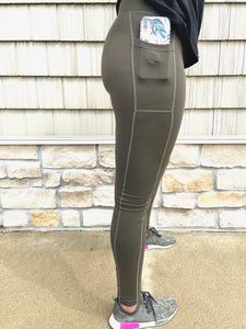 Women's Legging Bundle W/Black,Green, & Wine Tall High-WaistFitness Legging w/Pockets