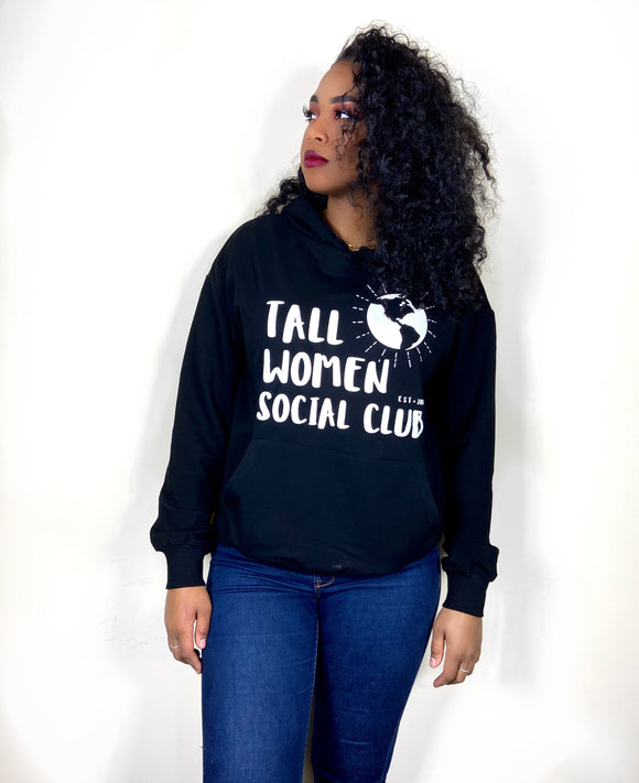 Tall Women Social Club Screen Print Hoodie w/Extra Sleeve Length