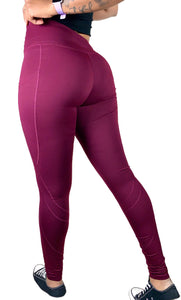 Women's Tall High-Waist Wine Fitness Legging w/Pockets