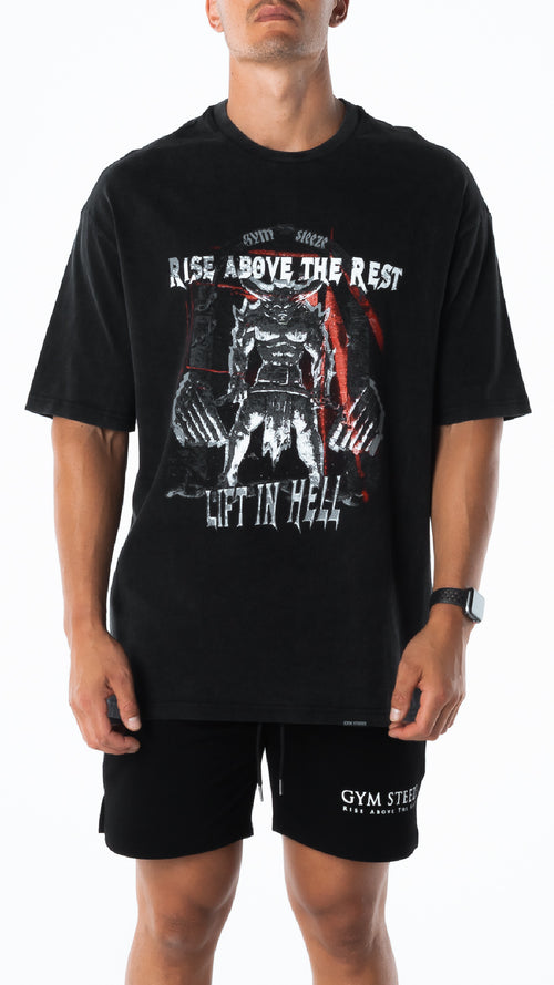 3. OVERSIZE 'LIFT IN HELL' TEE - VINTAGE BLACK