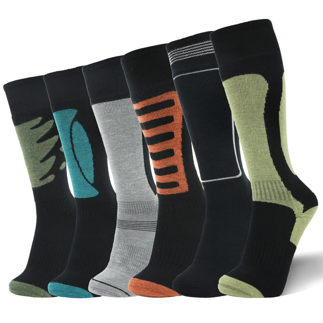 LIN Merino Wool Cycling Hiking Thermal Socks 6 Pairs Pack