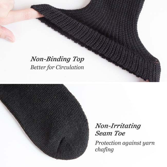 MD Polyester Non-Binding Half Cusioned Crew Socks Loose Fit
