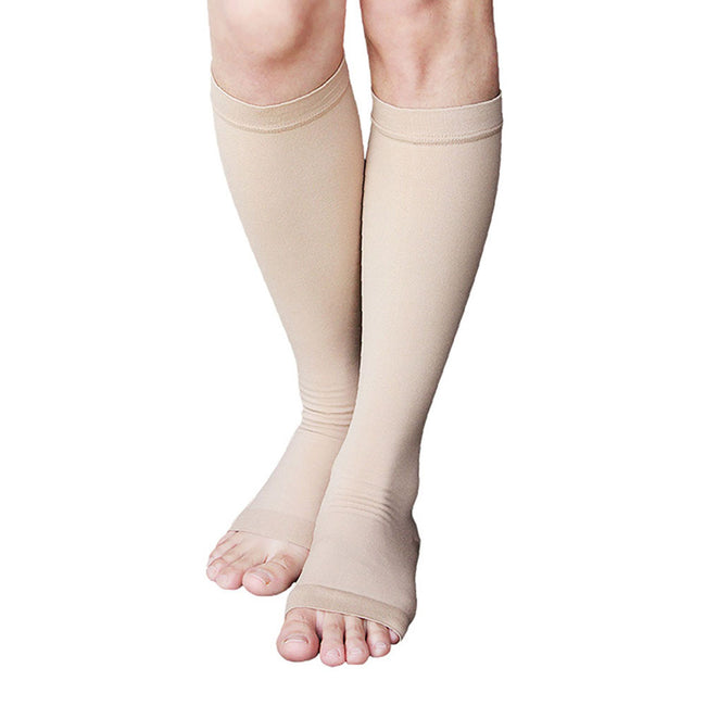 MD 23-32mmHg Microfiber Opaque Compression Stockings Open-Toe Firm Support