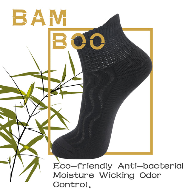 MD Ankle Bamboo Non-Binding Moisture Wicking Cushion Quarter Socks (2 Pairs)