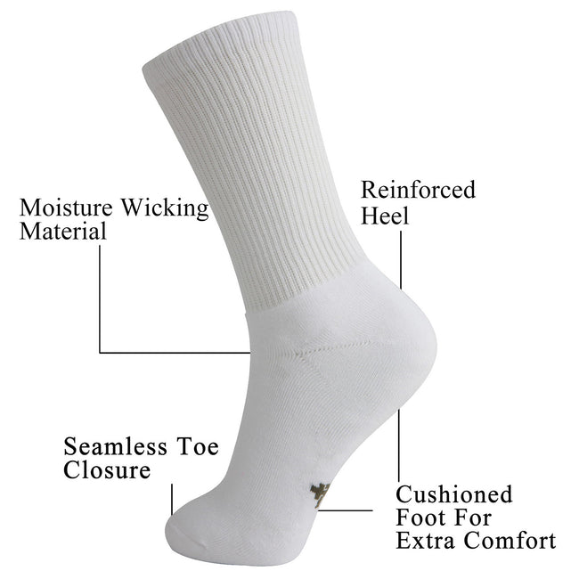 MD Soft Wicking Bamboo Full Cushion Crew Socks (2 Pairs)