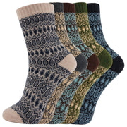 AAS 5 Pairs Wool Mixed Color Vintage Crew Winter Wool Socks