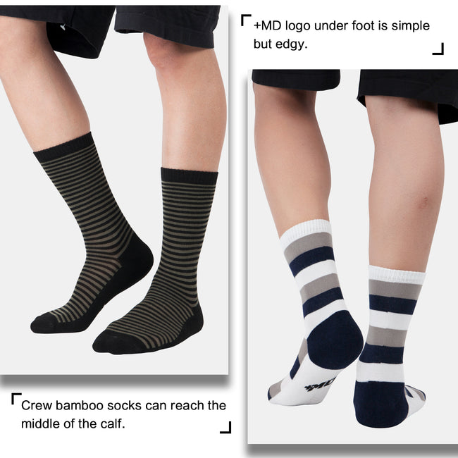 MD 6 Pairs Bamboo Moisture Wicking Argyle Strip Dress Socks